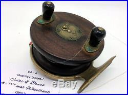 Very Rare Vintage Australian Fishing Reel Headley Ireland Cedar Brass Wheel Back
