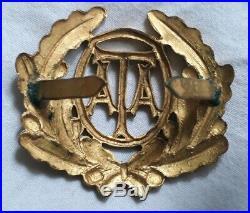 Very Rare WW2 ATA Pilots Gilded Brass Cap Badge RAF Air Transport Auxiliary