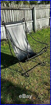 Very rare Leather sling chair iron and brass vintage mid century industrial