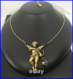 Vintage ART NOUVEAU Woman Pididdly Cupid Heart Necklace Very RARE