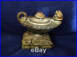 Vintage Dodge Inc. Brass Genie Aladdin Lamp Bookends Statue Sculpture Very Rare