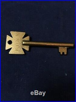 Vintage F. D. N. Y. Brass Key Fdny Fire Alarm Box Very Rare