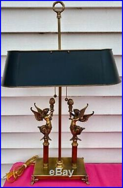 Vintage Winged Mermaids Brass Lamp MCM Electric WithTole Shade VERY RARE MUST C