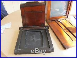 Wet Plate Mahogany Camera. 10x8. Brass Portrait Lens. Dark Slide. Very Rare