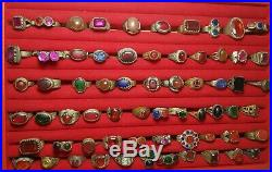 Wonderful very old roman glass on old brass rings very rare 65 rings lot