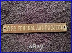 Wpa 1938 Federal Art Project Brass Frame Plaque Authentic Govt Issued Very Rare