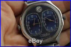Wrist Watch SLAVA Duet Very Rare Vintage Soviet Russian / Collectible / Serviced