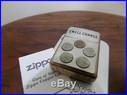 Zippo COPPER Lighter Small Change VERY RARE 2002 VERSION Made in USA NEW